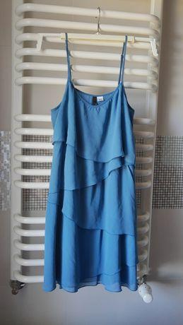 Sukienka letnia na ramiączkach falbany h&m niebieska