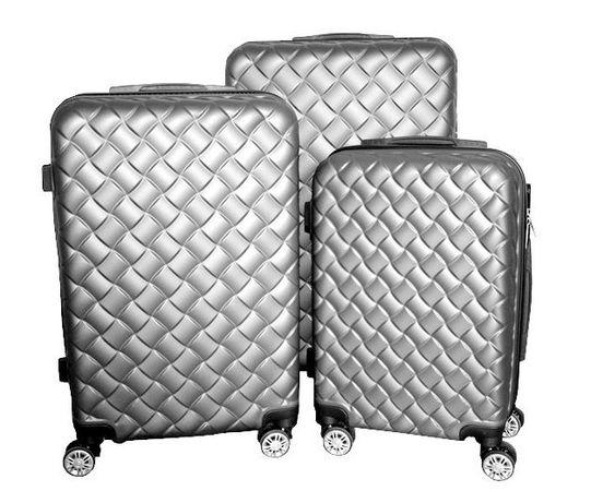 M1409 Zestaw walizek podróżnych do samolotu 3szt srebrne na kółkach