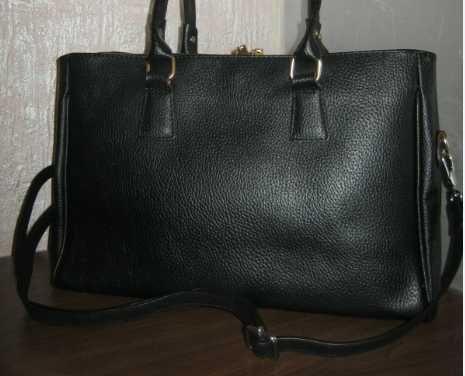 Итальянская черная кожаная сумка деловая натуральная кожа держит форму