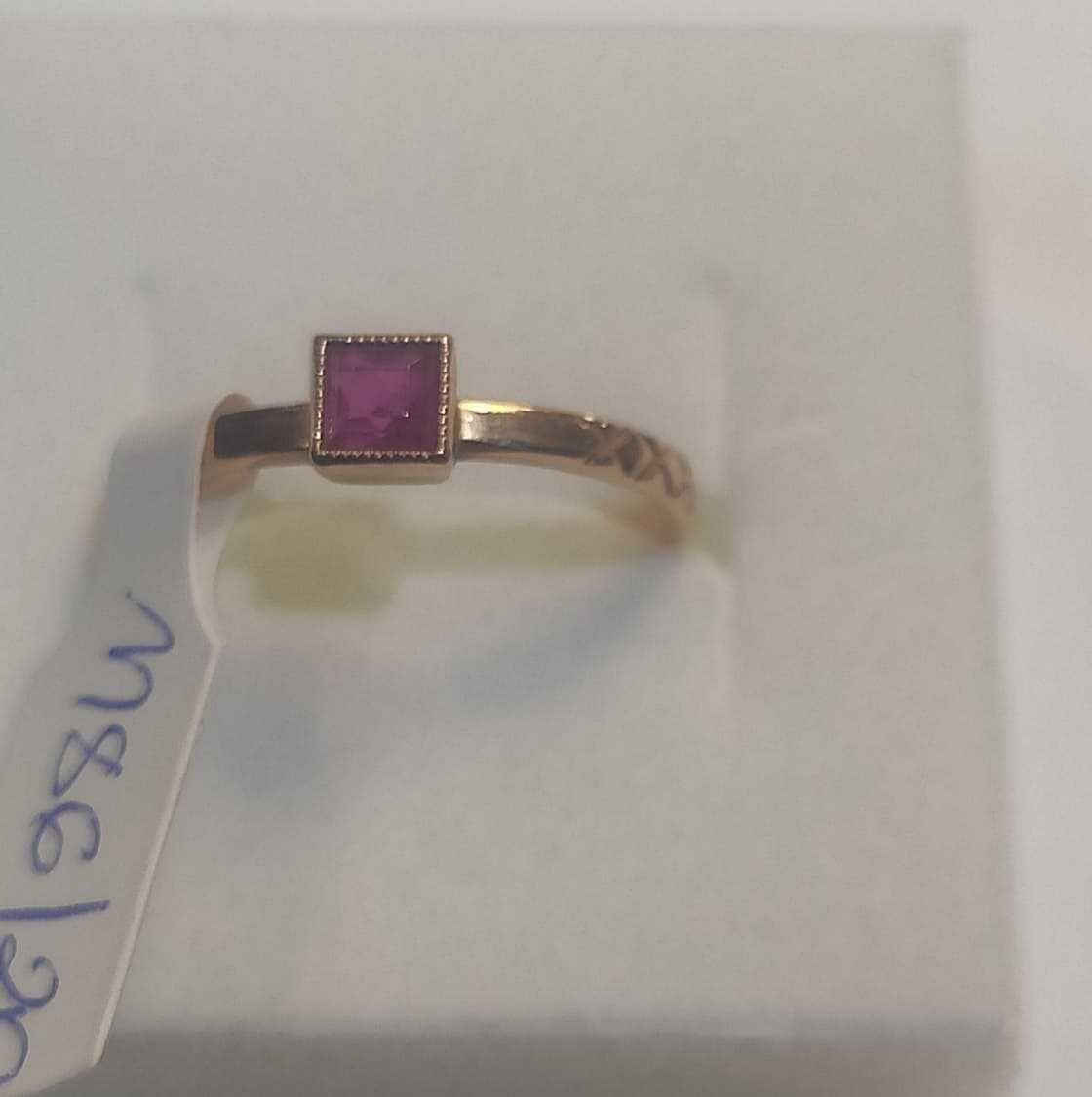 złoty pierścionek z rubinkiem , lombard madej sc