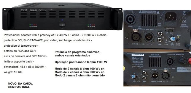 Amplificador 1100w 8ohms ''Apart - ACEITO TROCAS