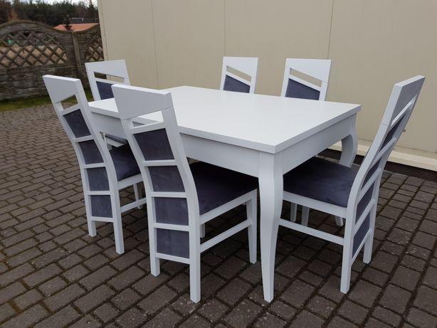 Krzesło tapicerowane białe nowoczesne eleganckie do jadalni salonu
