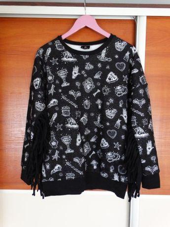 Mega bluza restyle frędzle rock metal gothic punk M/L