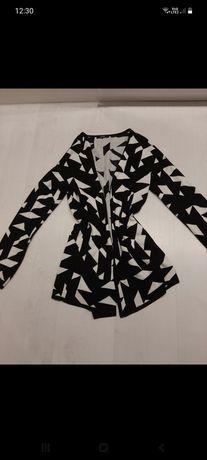 Kardigan S czarno biały wzory esmara