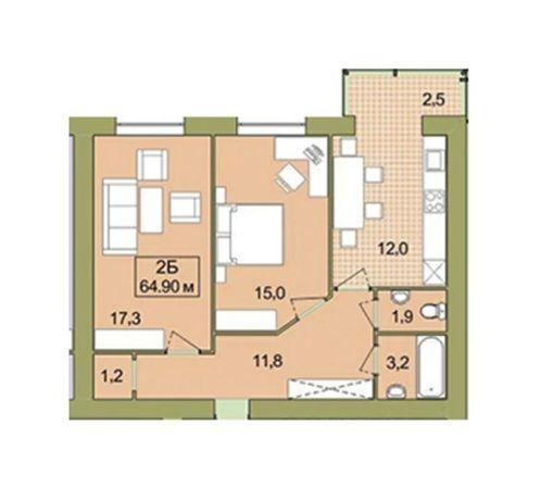 Цент 2х кв ,поверх 2 ,будинок зданий