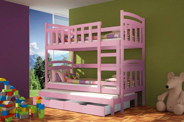 Łóżko piętrowe drewniane dla dzieci Daniel, 3 os z szuflady + materace