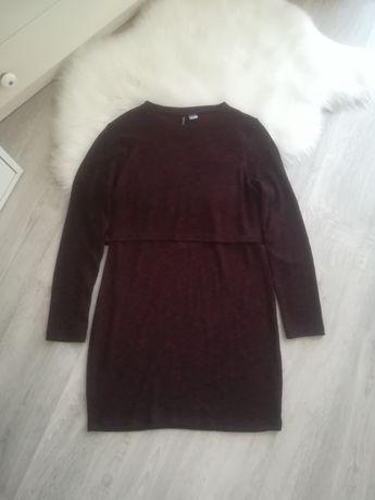 Bordowa burgundowa dzianinowa sukienka z wycięciem na plecach H&M 38 M