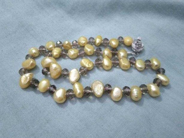 Редкость! Новые бусы-ожерелье. Натуральный жемчуг. Чешский хрусталь.