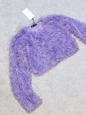 Piękny liliowy sweterek sweter bluzeczka krótki hit wiosenny fiolet ro