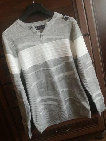 Męski sweter biało szary, nowy