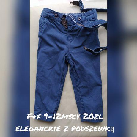 Spodnie eleganckie 9-12 f&f z szelkami