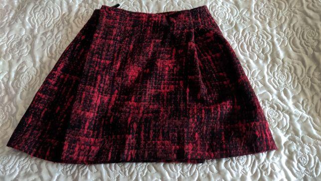 Piękna spódnica na święta czerwona mini S Top Shop jodełka kratka