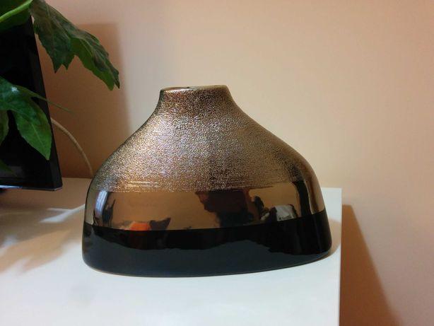 Wazon ceramiczny ręcznie robiony czarny/srebrny