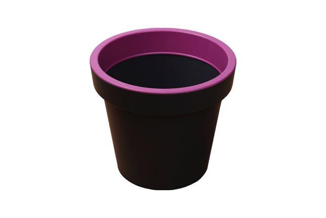 Donica okrągła L różowa plastikowa doniczka szara WYSYŁKA!