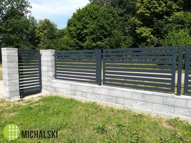 Ogrodzenia obejmy, łączniki, podmurówki, płyty betonowe, panele, wózki