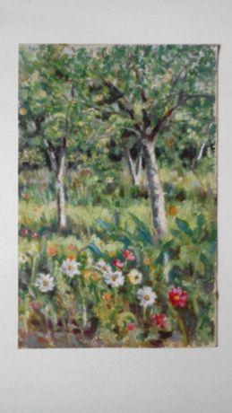Сад с цветами и деревьями пейзаж 1970е гг. СССР картон масло 42 х 27см