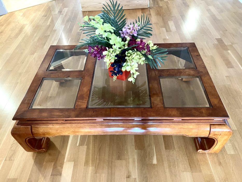 Duzy drewniany stolik lawa vintage 122/77cm w stylu azjatyckim 1980r Konstancin-Jeziorna - image 1
