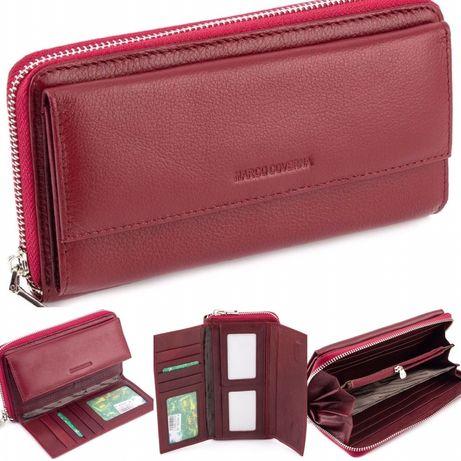 Женский Бордовый кожаный кошелек на молнии с блоком для карт Marco Cov