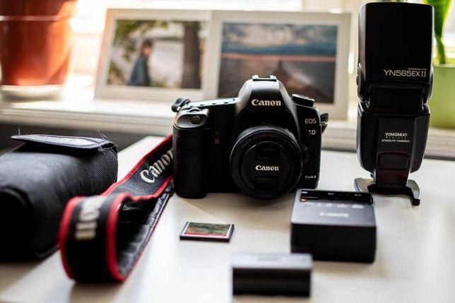 Canon 5d mark II 50 mm f1.8 zestaw Yongnuo YN565EX II speedlite + CF