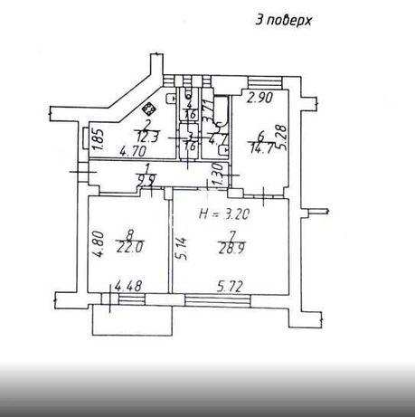 Удачная планировка 96 кв м 3ий этаж Центр Мироносицкая Сумская