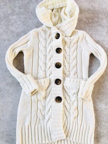 Długi sweter wełna Gap 6 7 lat 116 122 cm