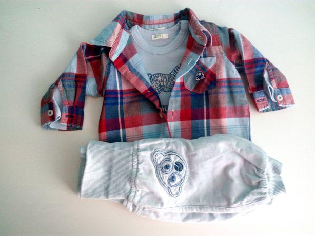 Conjunto p/ bebé recém-nascido: calças, 2 tshirts, camisa - 1/3 meses