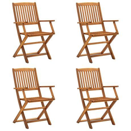 vidaXL Cadeiras de jardim dobráveis 4 pcs madeira acácia maciça 46338