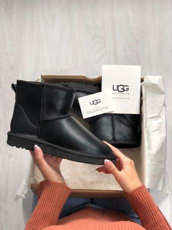 Ugg Australia mini Black / Угги кожаные короткие черные оригинал