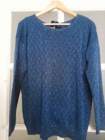 Sweter bluzka promod niebieska, brokat, ciekawy dekolt L-XL