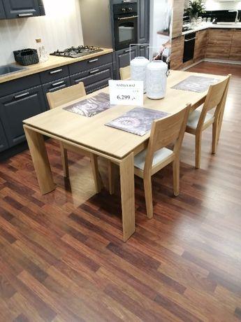 zestaw Stół + 4 krzesła naturalne drewno Dębowe