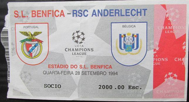 Bilhete do jogo da Champions League Benfica vs RSC Anderlecht 28/9/94