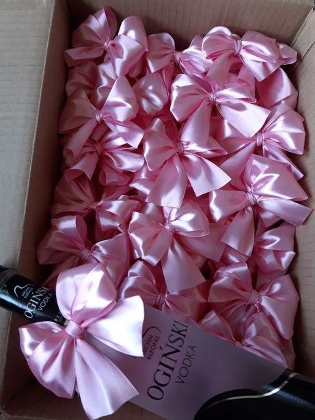 Kokardki na butelki pudrowy róż 100 sztuk ślub wesele dekoracja stołu