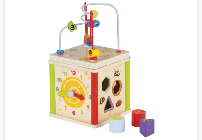 play wooden 5-in-1 activity cube