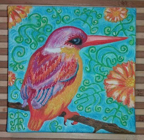 Картина маслом Райская птица 15х15 холст