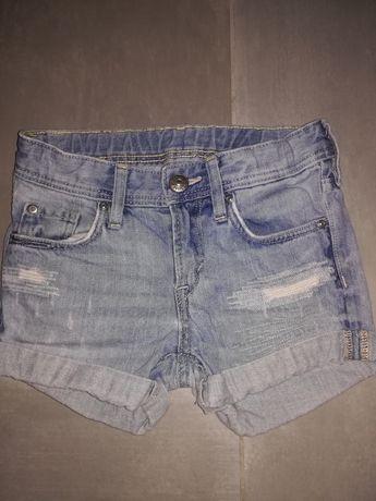 Krótkie spodenki hm jeans dżins 98 dziury