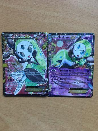 2 Cartas Pokémon Holográficas (Meloetta Full Art Ex e Ex)