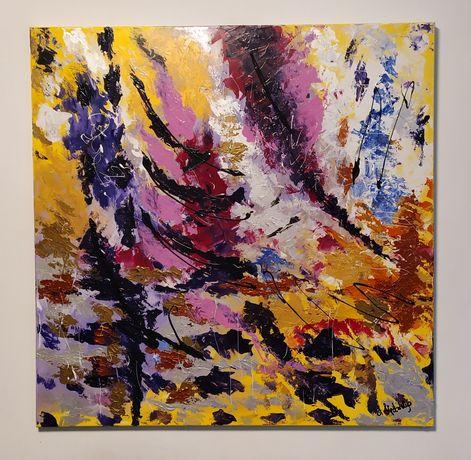 Obraz ABSTRAKCJA 100 x 100 cm. Obraz ręcznie malowany na płótnie.