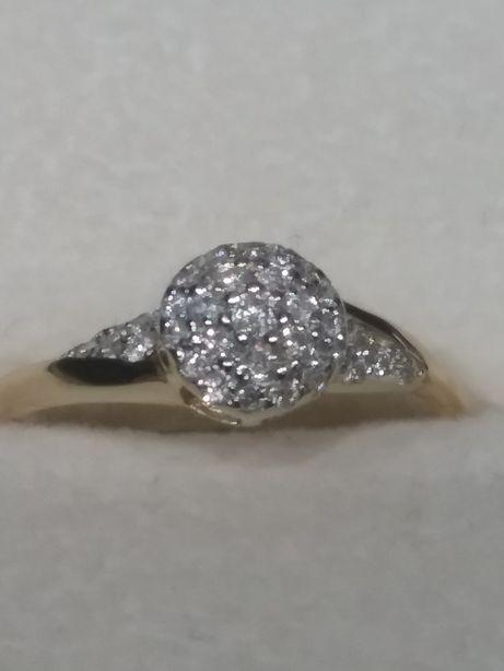 Pierścionek złoty diamenty 0,20 ct