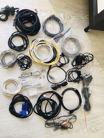 Todo o tipo de acessórios: Cabos VGA, fios USB, auriculares