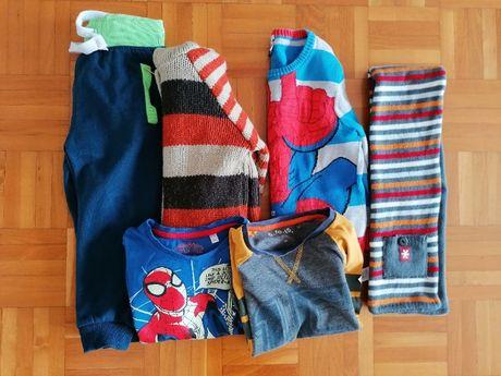 Zestaw ubrań 98-104 chłopięce c&a, 5-10-15 bluzka sweter spodnie szal