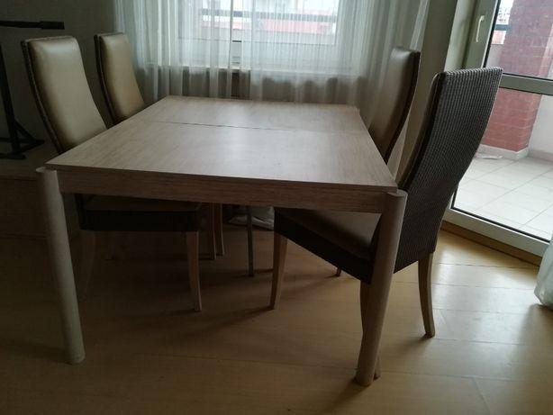 krzesła Lloyd Loom skóra naturalna + stół rozkładany max 320 cm okazja