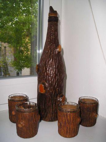 Бутылка-графин-штоф и 4 стопки-рюмки под дерево (винтаж СССР)