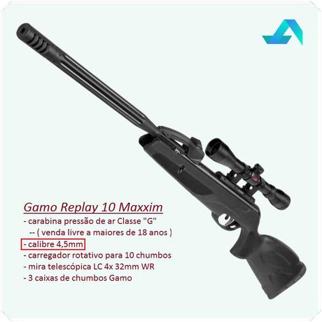 Carabina Pressão de Ar Gamo Replay 10 4,5mm + mira telescópica