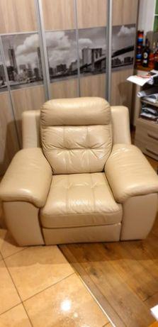 Rozkładany, skórzany fotel