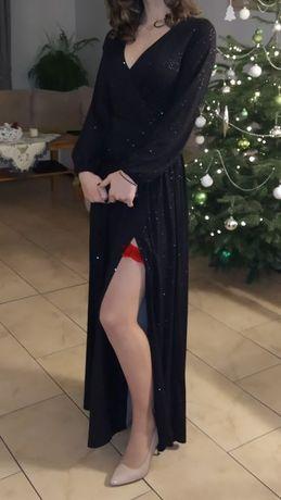 Sukienka na studniówkę maxi czarna błyszcząca
