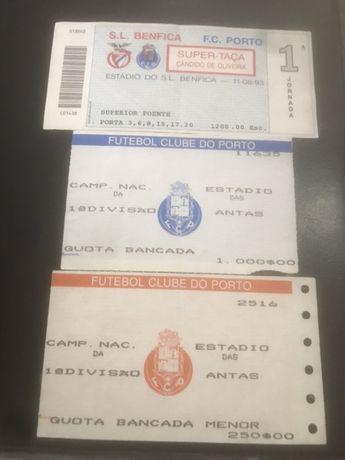Lote 3 bilhetes de futebol S.L.B.xF.C.P. Super taça Cândido de Oliveir