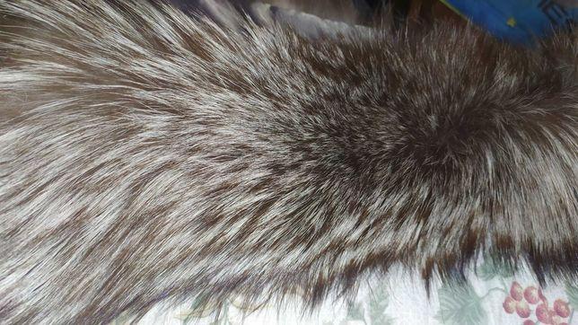 Чернобурка натуральный воротник 72 см по подкладке на куртку