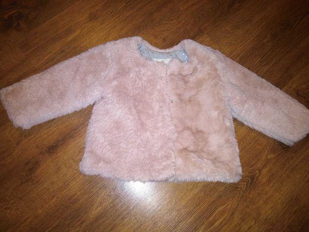 Płaszcz futro kurtka dla dziewczynki r. 92
