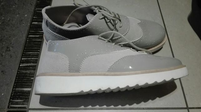 Nowe buty szare damskie, mokasyny r. 39