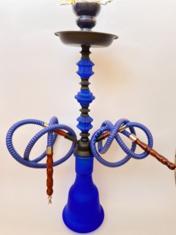 Матовый синий кальян на две трубки 57 см
